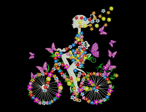 Flower Girl on Bicycle SWORNA Nature Embroidery Series
