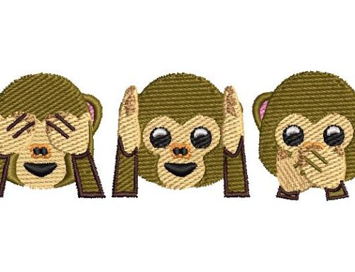 Three Wise Monkey Embroidery