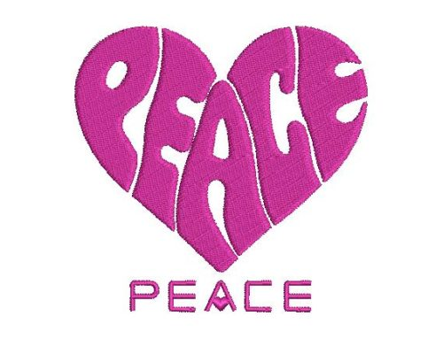 Peace Heart Embroidery Design