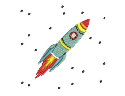 Rocket Embroidery Design