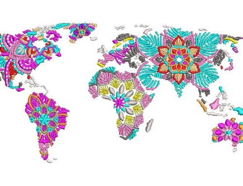 Flower Map Embroidery Design