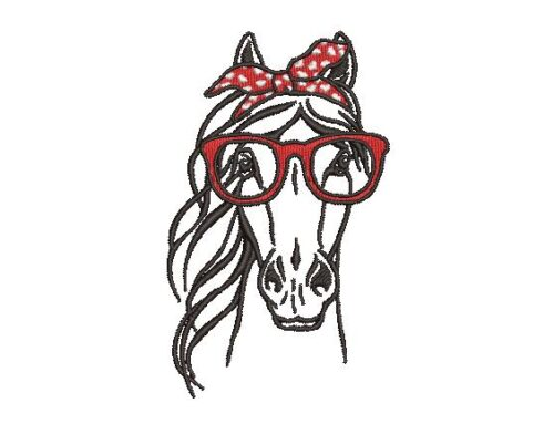 Horse in Glasses Embroidery Design