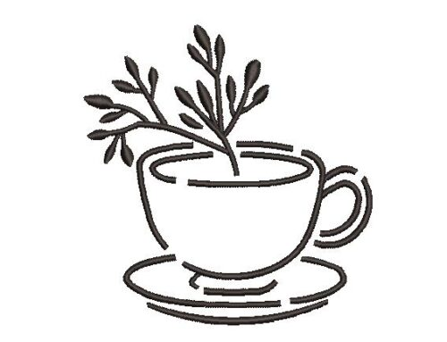 Leaves in Cup Embroidery Design