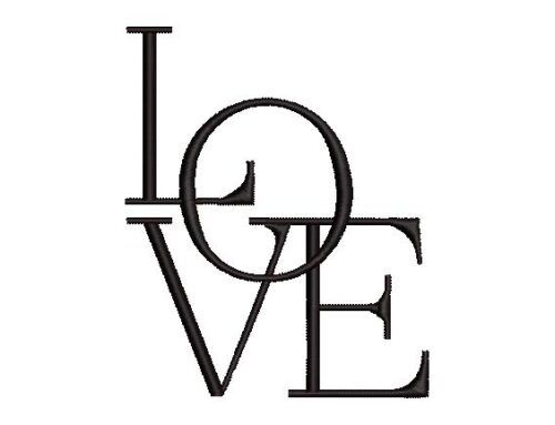 Love Word Art Embroidery Design