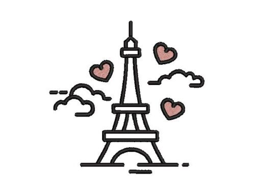 Love Tower With Cloud Embroidery Design