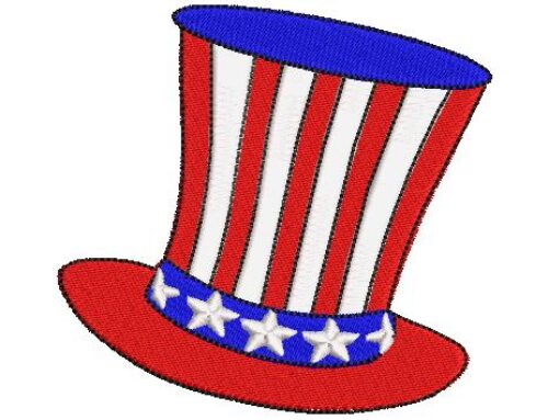 USA Top Hat Embroidery Design